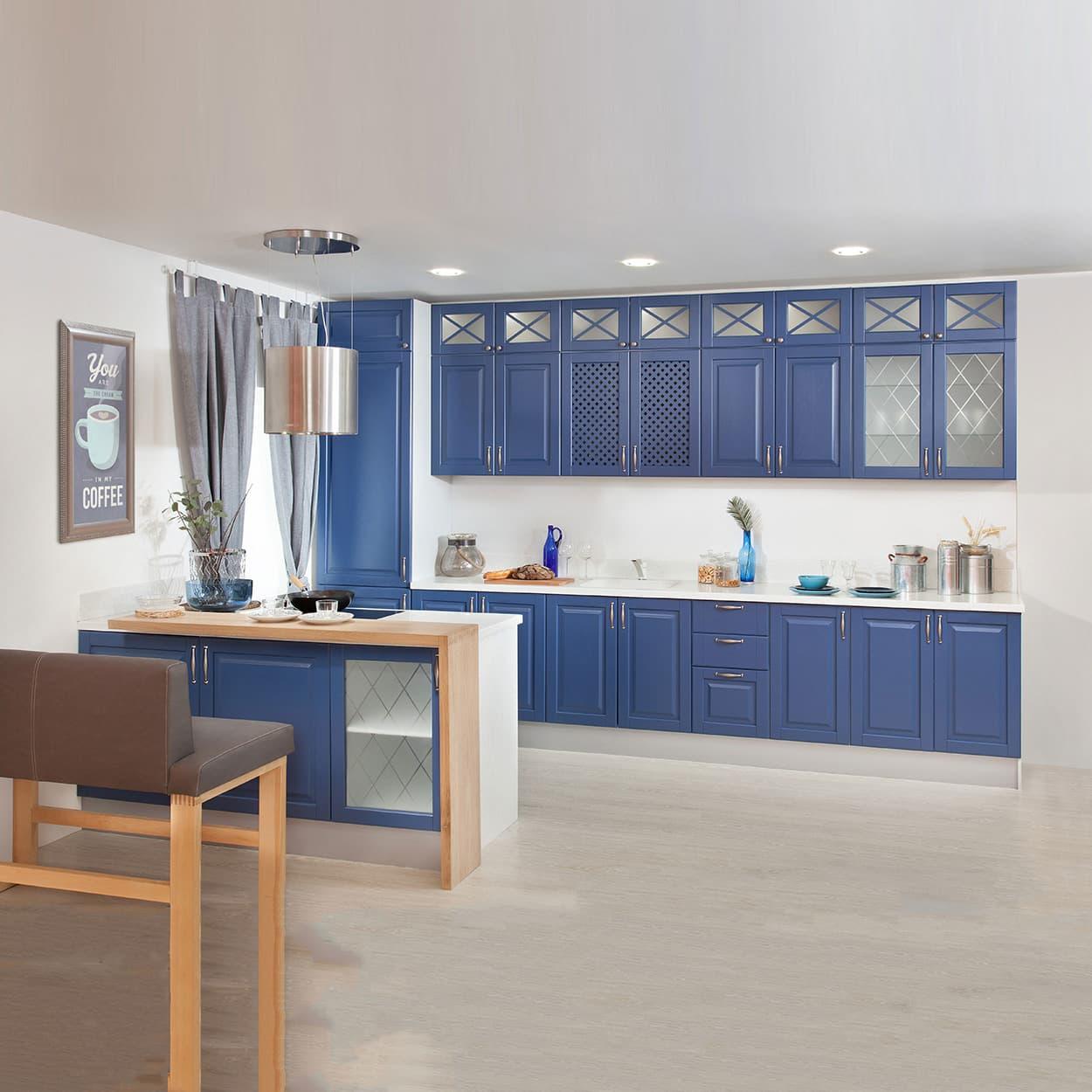 Синяя кухня модульная прямая с пеналом