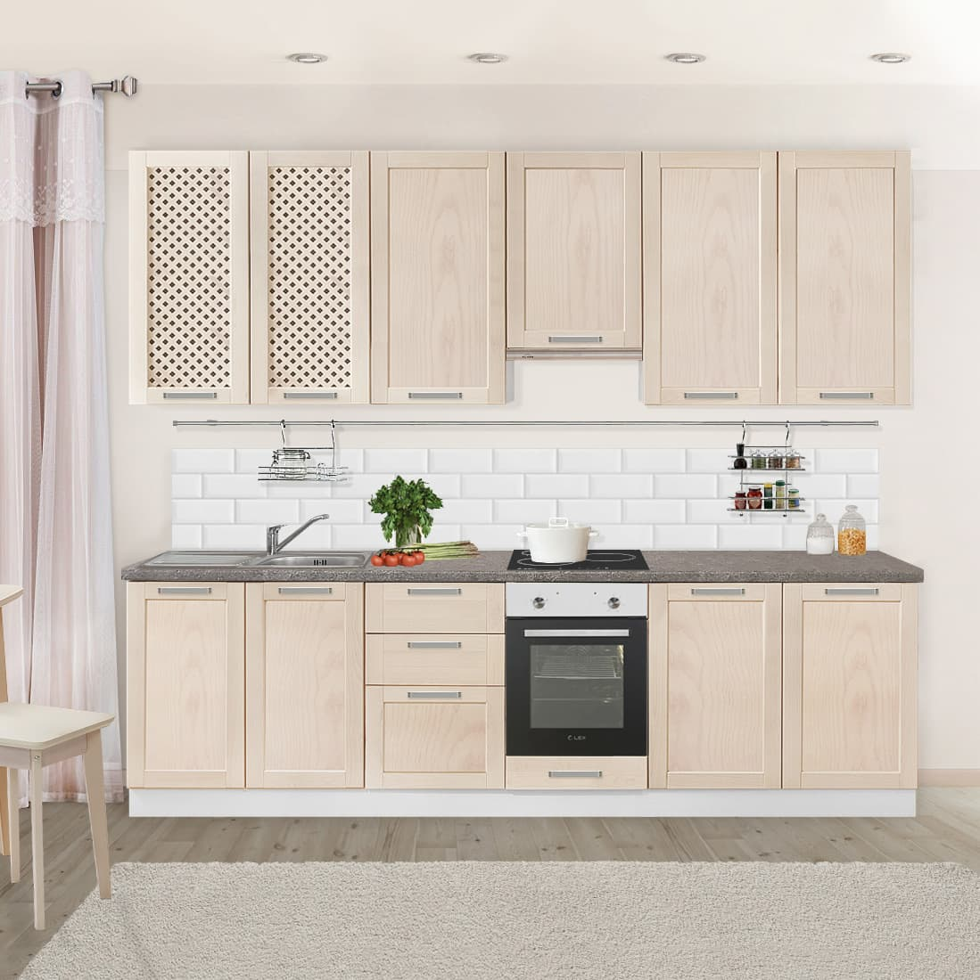 Кухня модульная #КБ_3025. Фасады массив березы. Цвет Выбеленная береза