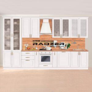 Кухня модульная #КБ_3026. Массив березы. Цвет Белый